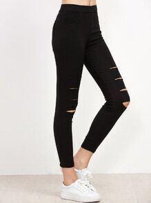 Black Ripped Skinny Leggings With Pocket