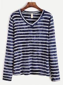 Striped Tie Dye V Neck T-shirt