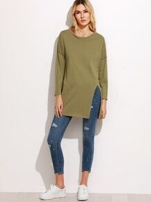 Army Green Dropped Shoulder Seam High Slit Side T-shirt