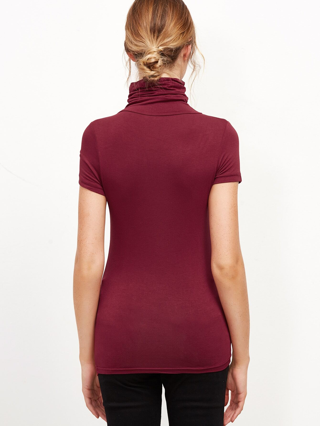 Burgundy high neck tight t shirt for High neck tee shirts