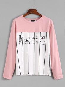 Contrast Penguin Print Striped T-shirt