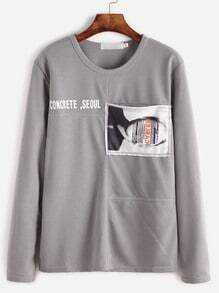Grey Letter Print Patch Pocket T-shirt