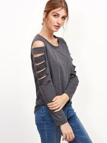 Grey Ladder Cut Out Raglan Sleeve T-shirt