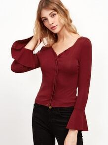 Burgundy V Neck Bell Sleeve Ruffle T-shirt