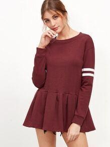 Burgundy Varsity Striped Pleated Hem Sweatshirt