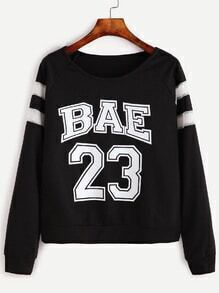 Black Varsity Print Raglan Sleeve Sweatshirt
