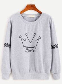 Heather Grey Crown Print Sweatshirt