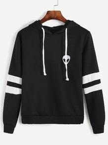Varsity Striped Alien Embroidery Hooded Sweatshirt