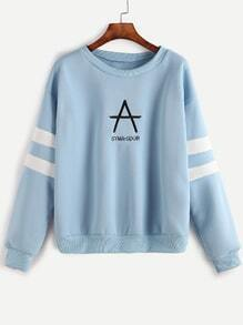 Drop Shoulder Varsity Striped Letter Embroidery Sweatshirt