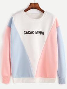 Contrast Letter Print Dropped Shoulder Seam Sweatshirt