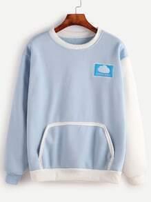 Contrast Sleeve Embroidered Pocket Sweatshirt