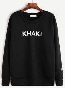 Black Letter Print Dropped Shoulder Seam Sweatshirt