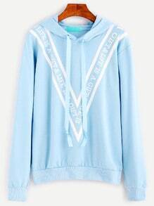 Blue Letter Print Drawstring Hooded Sweatshirt