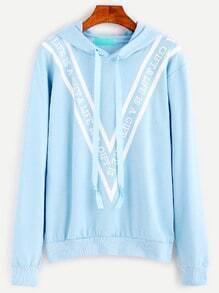Blue Letter Print Drawstring Hooded Sweatshirt