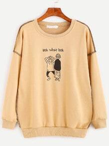 Cartoon Print Drop Shoulder Sweatshirt With Stitch Detail
