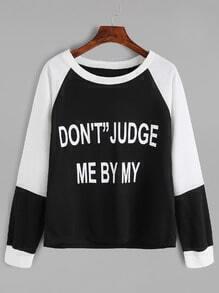 Slogan Print Raglan Sleeve Sweatshirt