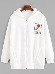 White Drop Shoulder Embroidered Zip Up Hooded Sweatshirt