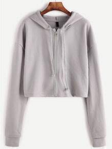 Grey Dropped Shoulder Seam Zipper Drawstring Hooded Sweatshirt