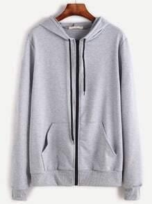 Light Grey Contrast Zip Drawstring Hooded Pocket Sweatshirt