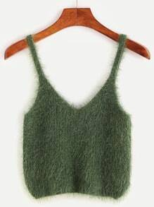 Green Fuzzy Spaghetti Strap Crop Sweater Vest