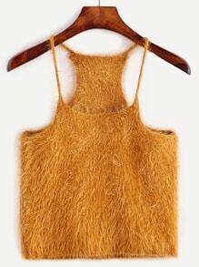 Khaki Fuzzy Spaghetti Strap Crop Sweater Vest