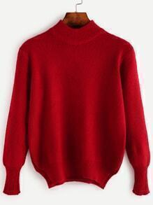 Red High Neck Slit Side Sweater