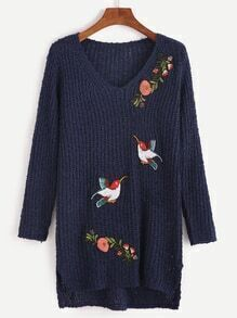 Navy V Neck High Low Flower Birds Embroidery Sweater