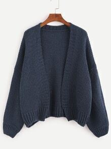 Navy Dropped Shoulder Seam Sweater Coat