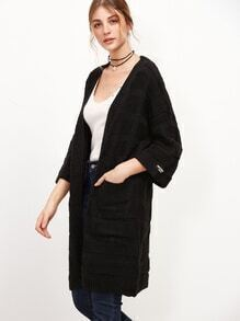 Black Drop Shoulder Pocket Textured Cardigan Coat