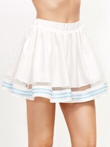 White Striped Trim Contrast Mesh Skort