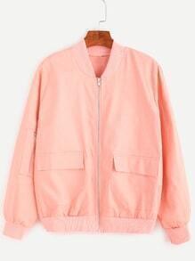 Pink Pockets Zip Up Bomber Jacket