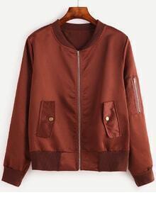 Button Embellished Zip Up Bomber Jacket
