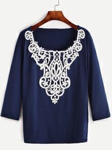 Blue Contrast Crochet Long Sleeve T-shirt