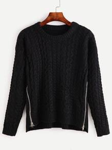 Black Cable Knit Zipper Sweater