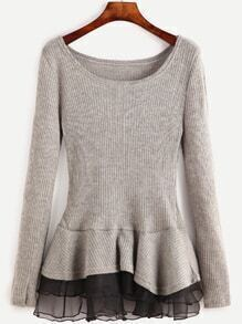 Grey Contrast Chiffon Scoop Neck Sweater