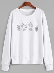 White Potted Plants Print Sweatshirt