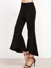 Black Asymmetric Hem Flare Pants