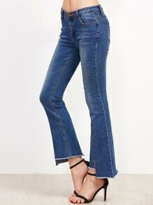 Blue Split Front Asymmetric Raw Hem Flare Jeans