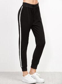 Black Striped Side Drawstring Pants