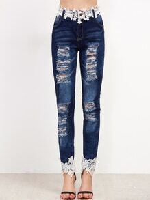 Blue Bleach Wash Ripped Appliques Jeans