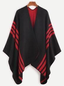 Black Striped Trim Asymmetric Cape Coat