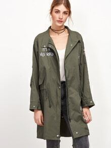 Army Green Slogan Embroidered Slit Back Drawstring Coat