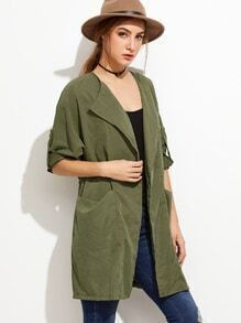 Army Green Roll Tab Sleeve Drawstring Coat