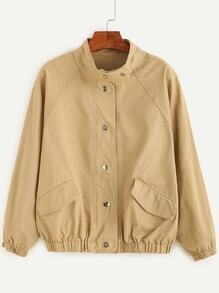 Khaki Raglan Sleeve Pockets Loose Jacket