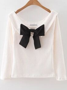 White Boat Neck Ribbed Sweater With Bow