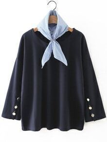 Navy Button Sleeve T-Shirt With Striped Kerchief