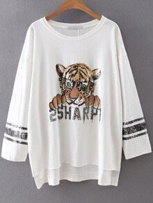 White Tiger Print Beaded Dip Hem Tee