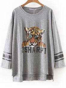 Grey Tiger Print Beaded Dip Hem Tee
