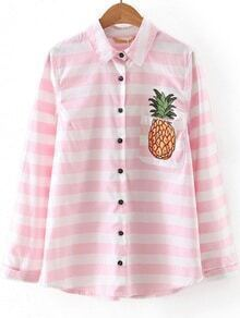 Pink Striped Pineapple Embroidery Pocket Blouse