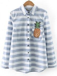 Blue Striped Pineapple Embroidery Pocket Blouse